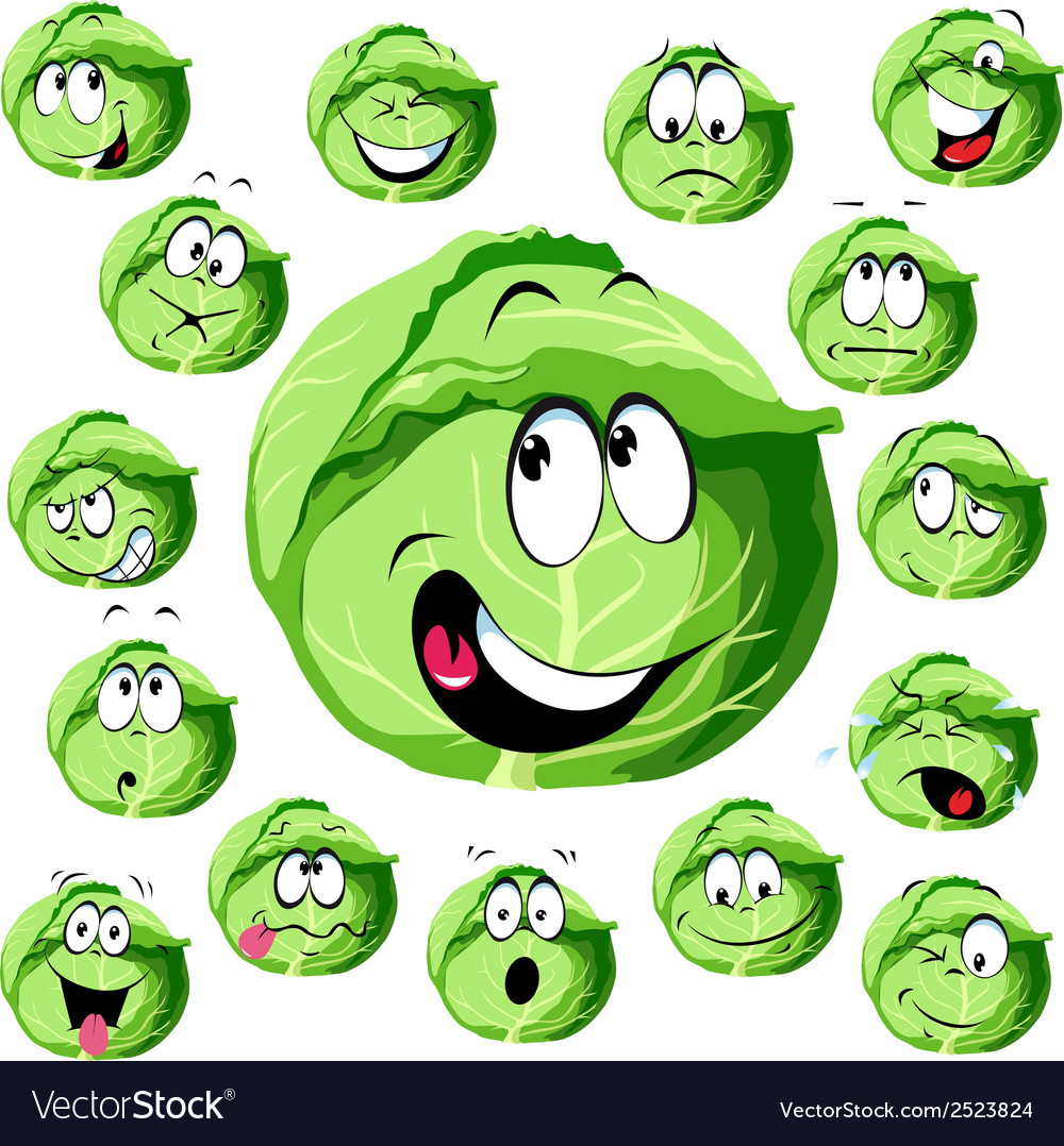 Cabbage cartoon vector | Price: 1 Credit (USD $1)