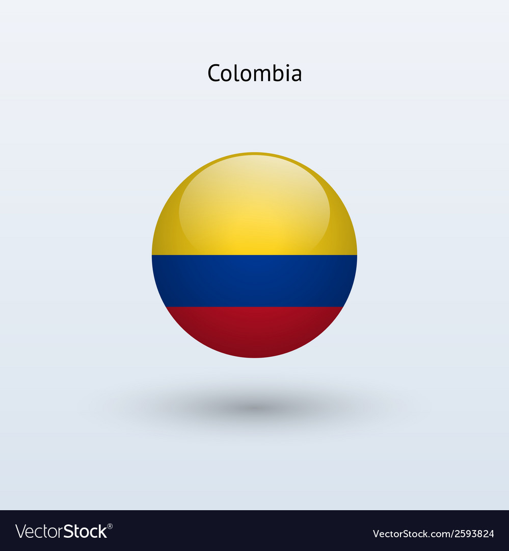 Colombia round flag vector | Price: 1 Credit (USD $1)