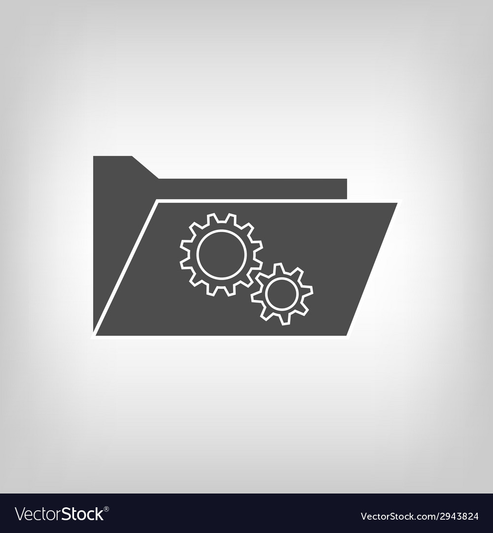Computer folder with gear wheels vector | Price: 1 Credit (USD $1)