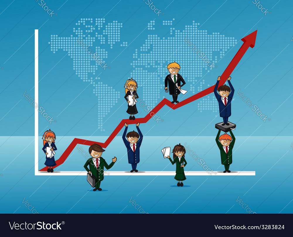 Finance bussines team growth concept graph vector | Price: 1 Credit (USD $1)