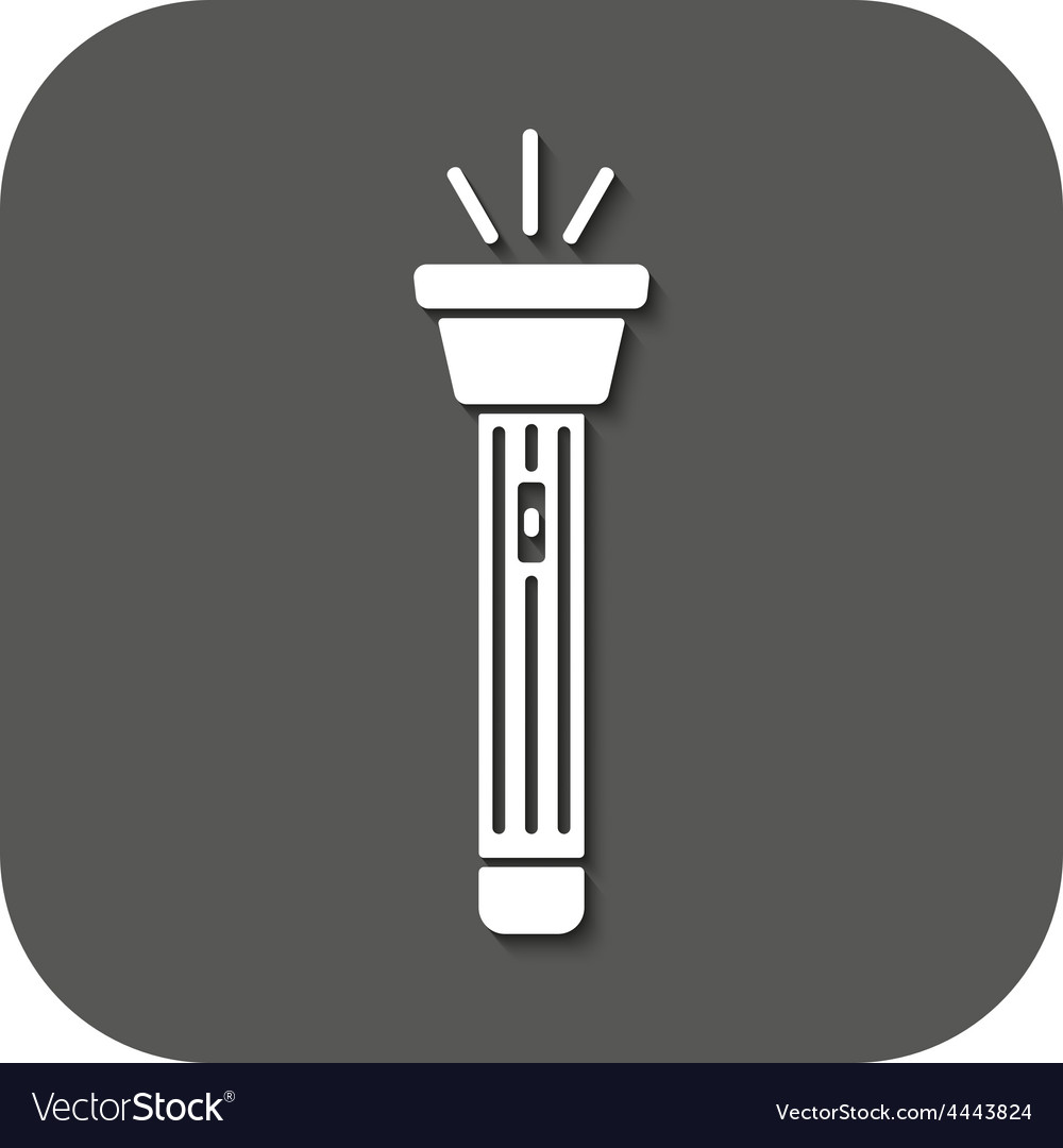 Flashlight icon torch symbol flat vector