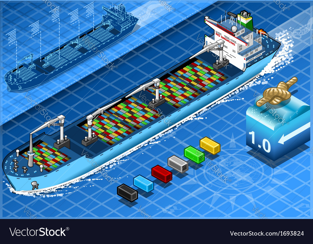 Isometric cargo ship with containers in front view vector | Price: 1 Credit (USD $1)