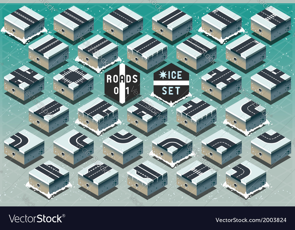 Isometric roads on frozen terrain vector | Price: 1 Credit (USD $1)