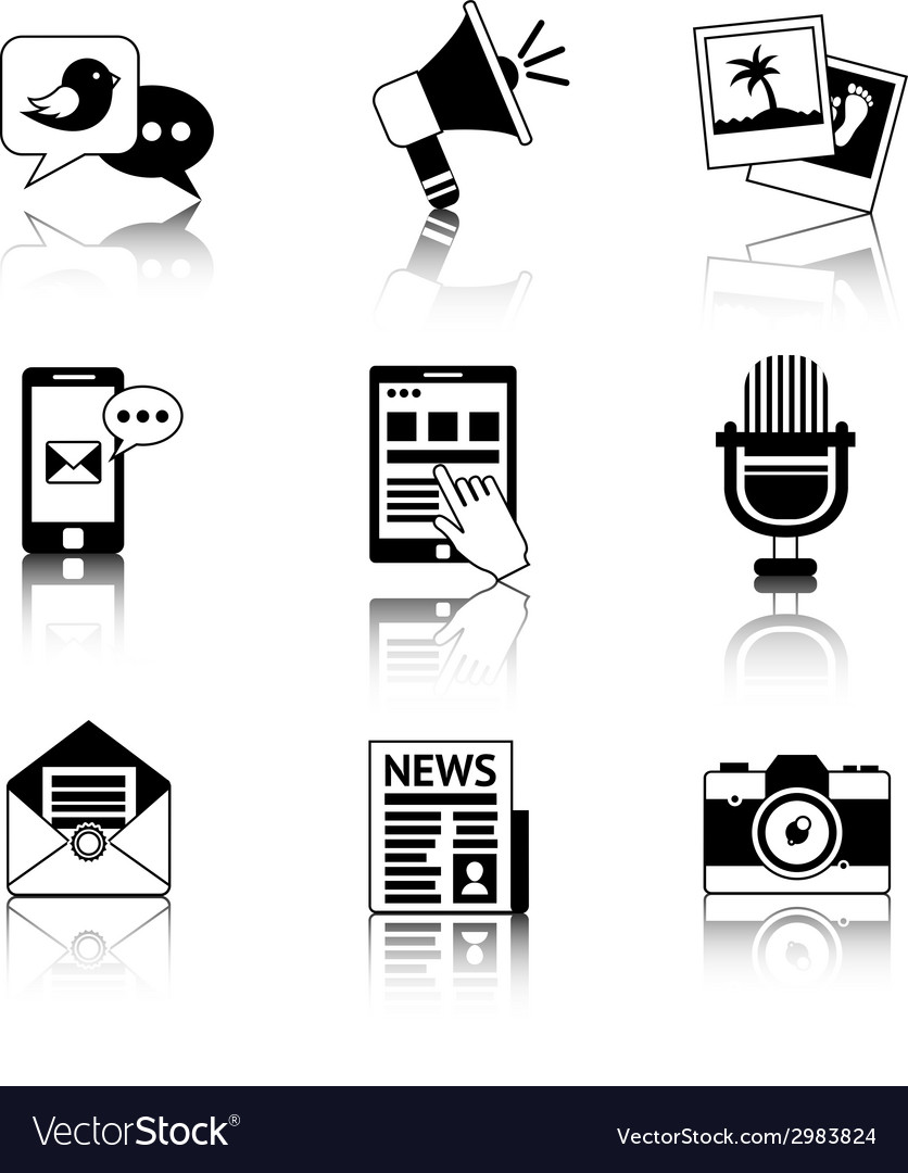 Media icons black and white vector | Price: 1 Credit (USD $1)
