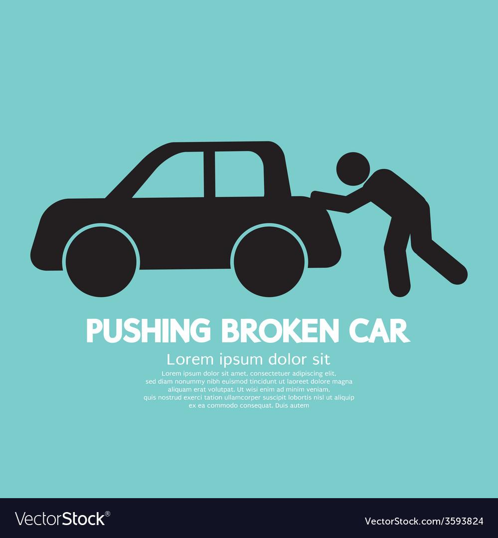 Pushing broken car graphic symbol vector | Price: 1 Credit (USD $1)