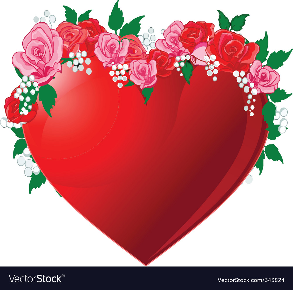 Red heart flanked by roses vector