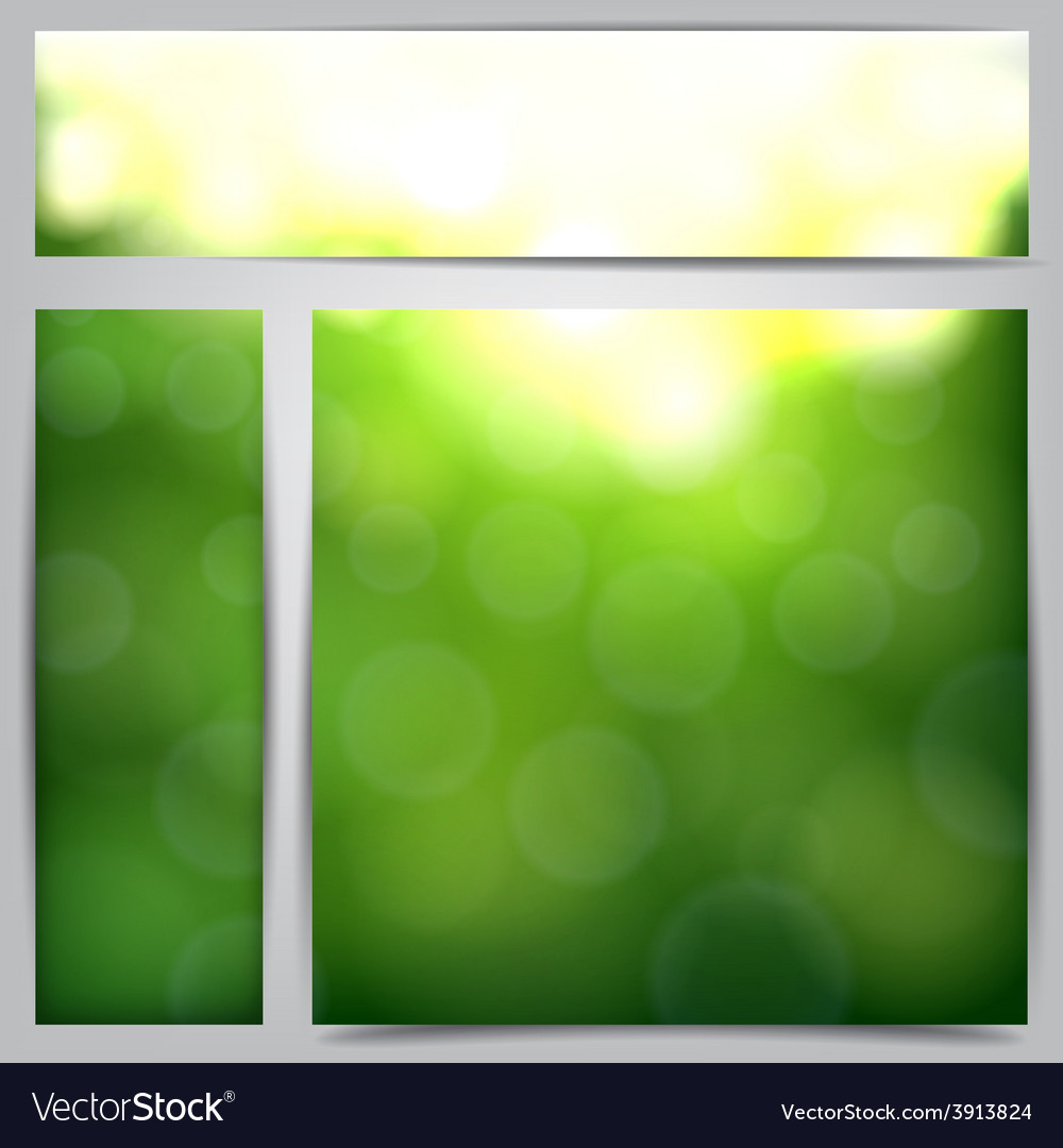 Set of blurry green vibrant banners vector | Price: 1 Credit (USD $1)