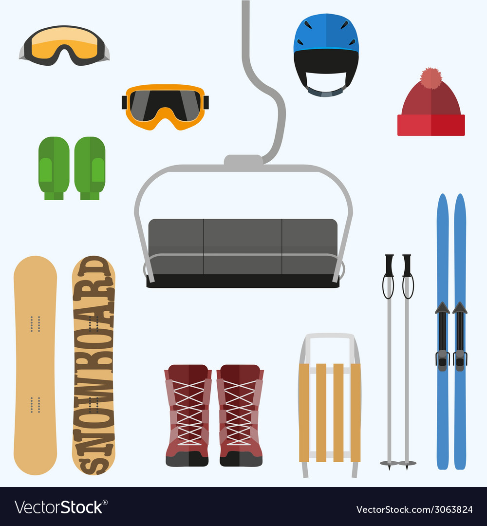Set of flat design elements on winter sport theme vector | Price: 1 Credit (USD $1)