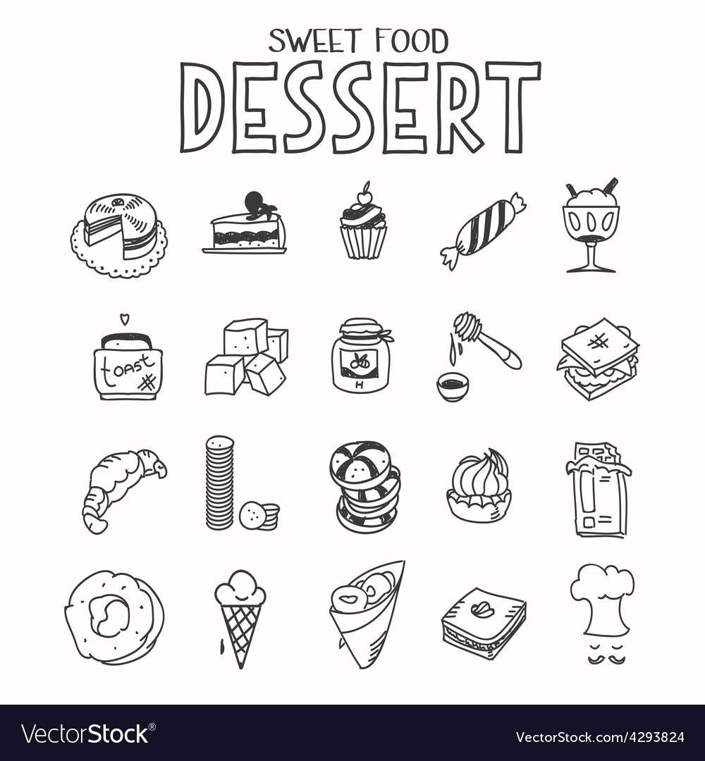 Sweet food desert morning breakfast lunch or vector | Price: 1 Credit (USD $1)