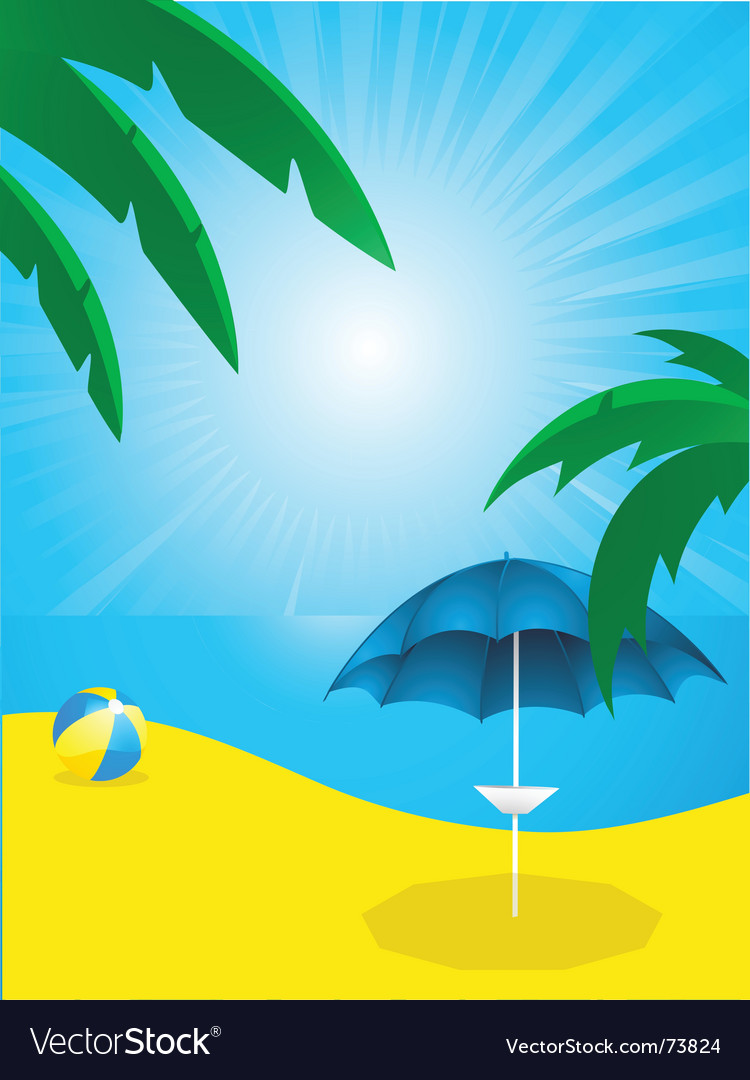 Tropical beach and parasol vector | Price: 1 Credit (USD $1)