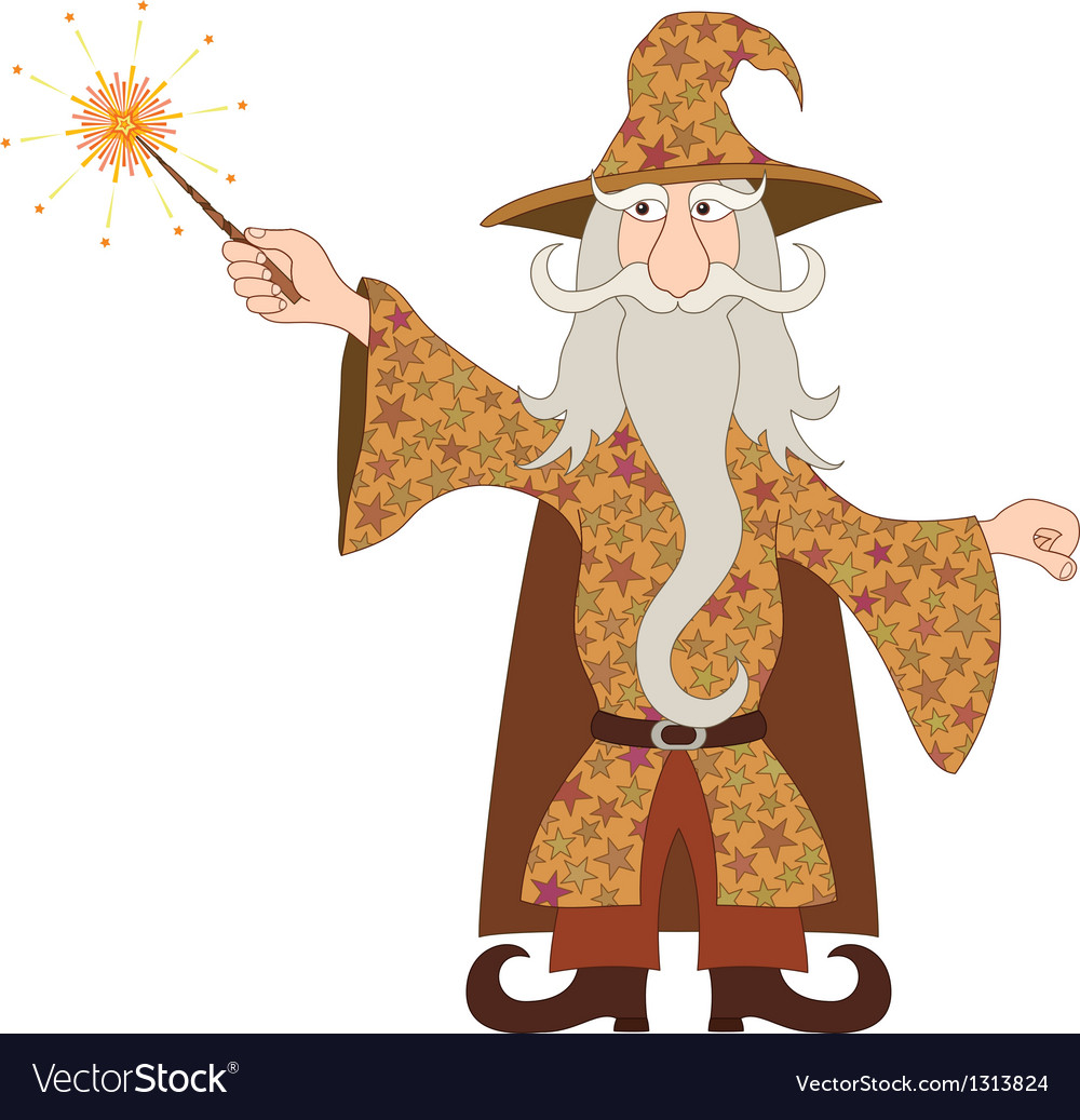 Wizard casting spell with magic wand vector | Price: 3 Credit (USD $3)