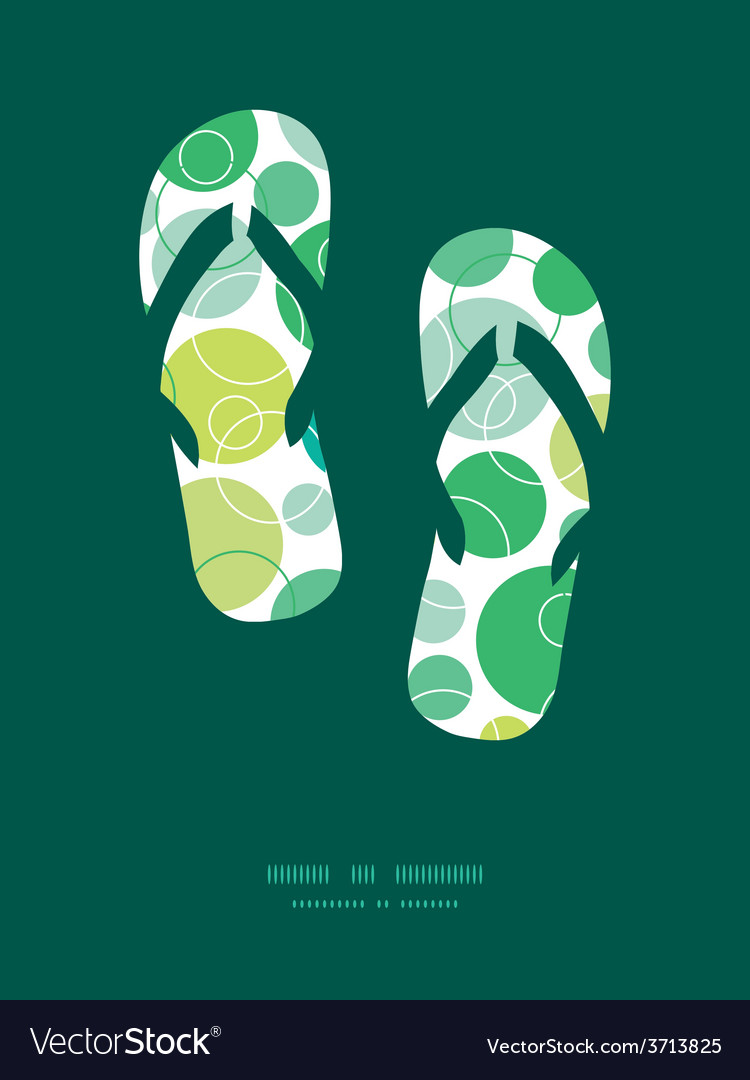 Abstract green circles flip flops vector | Price: 1 Credit (USD $1)
