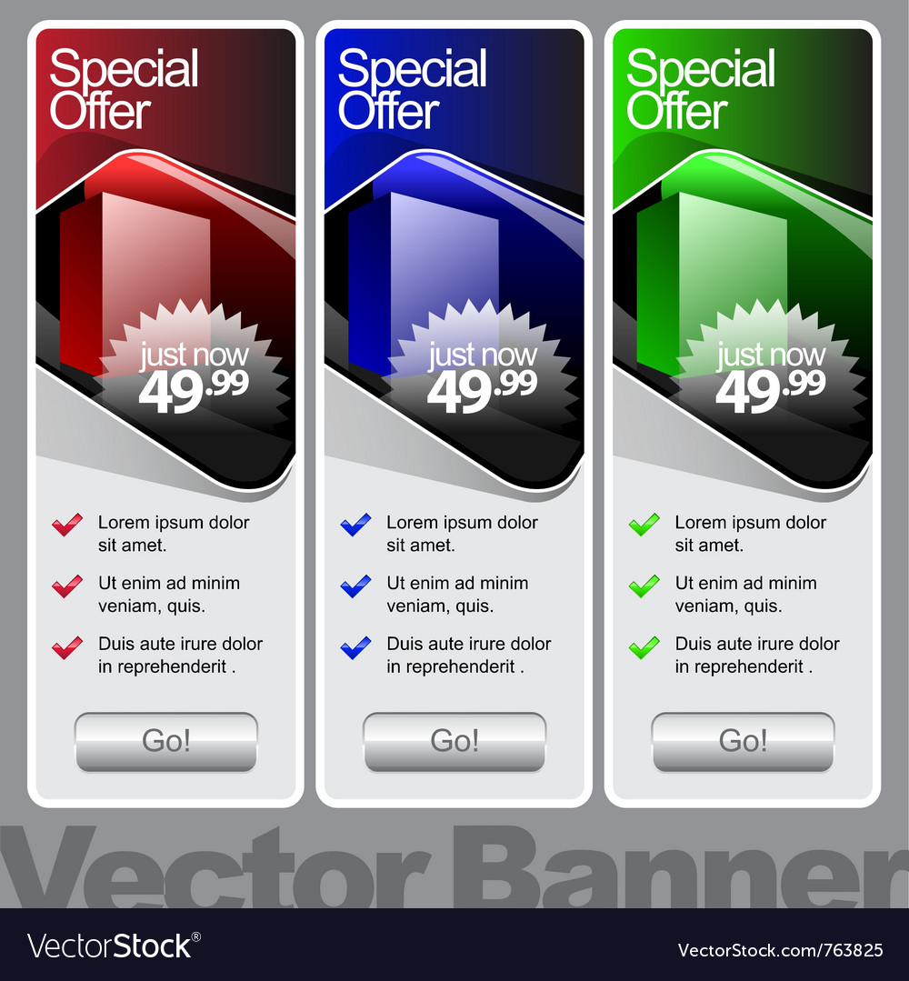 Abstract shiny glass banner red green blue vector | Price: 1 Credit (USD $1)