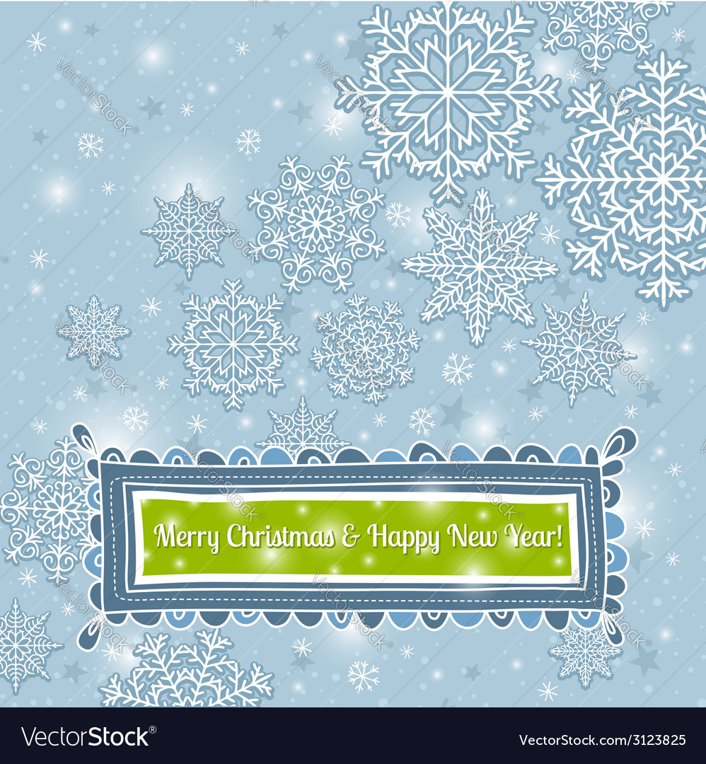 Blue background of snowflakes with label vector | Price: 1 Credit (USD $1)