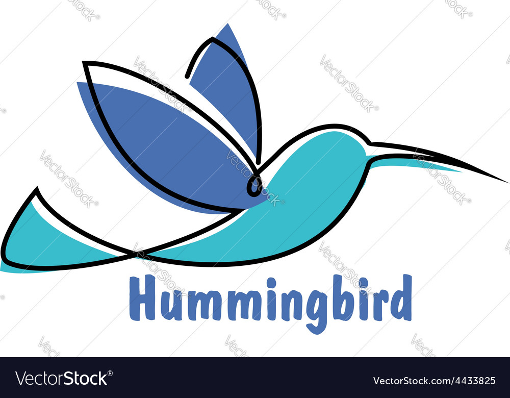 Blue soaring hummingbird or colibri symbol vector | Price: 1 Credit (USD $1)