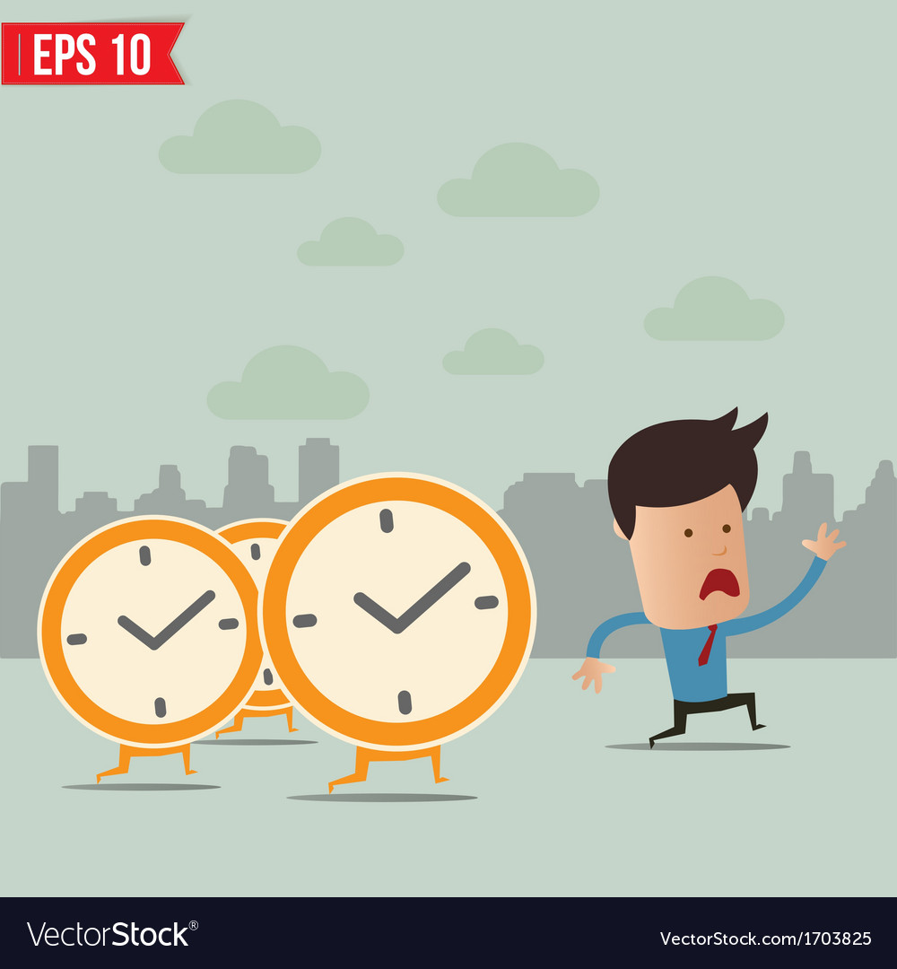 Business man run ahead the clock - - eps10 vector | Price: 1 Credit (USD $1)