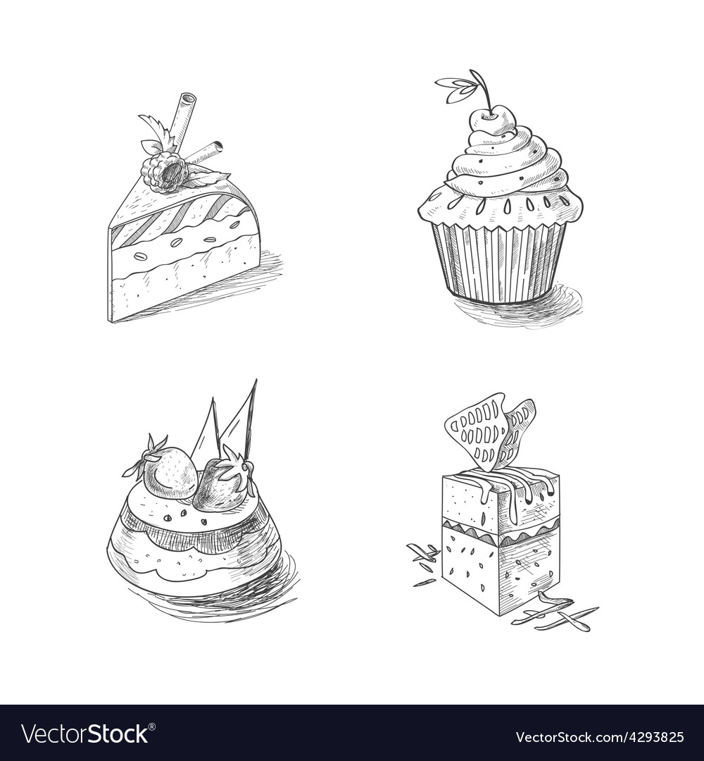 Hand drawn confections dessert pastry bakery vector | Price: 1 Credit (USD $1)