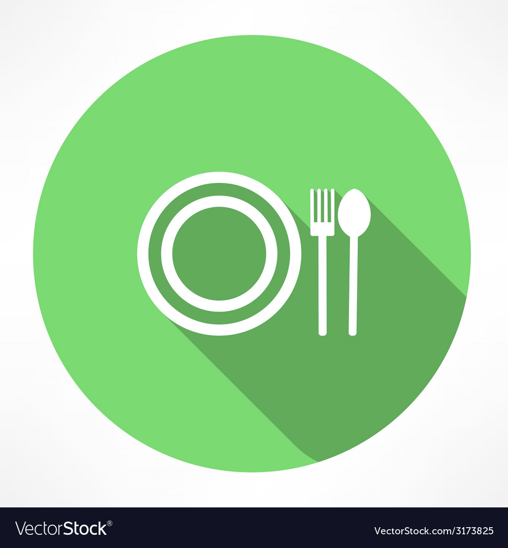 Plate with spoon and fork icon vector | Price: 1 Credit (USD $1)