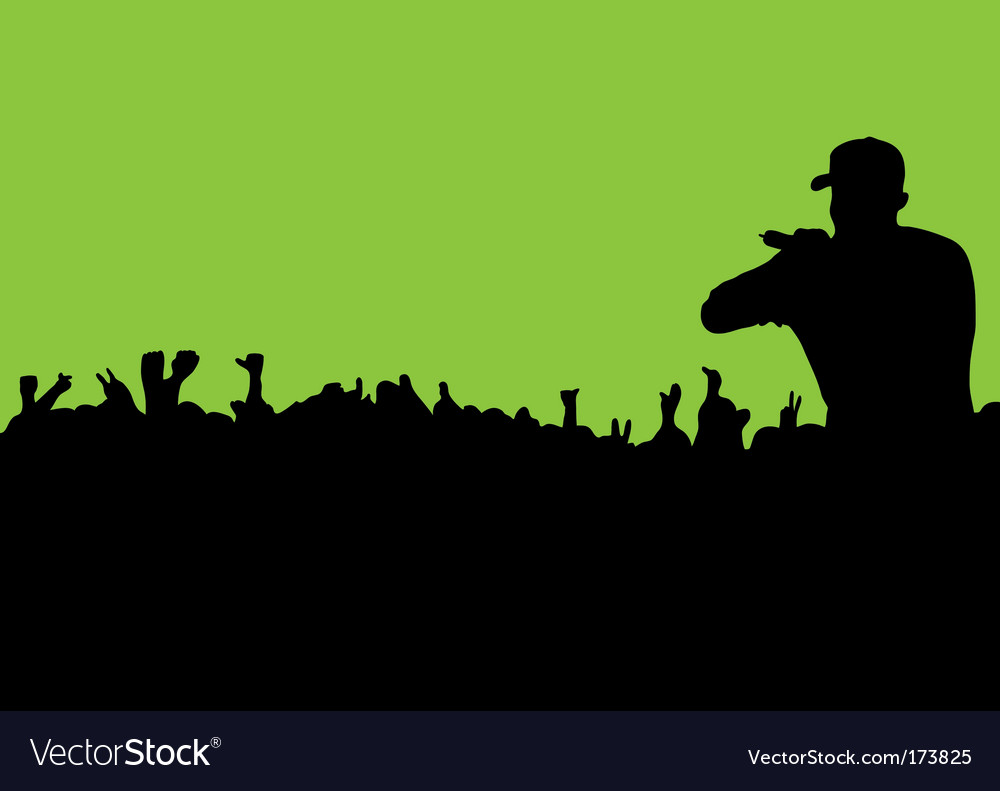 Silhouette concert crowd vector | Price: 1 Credit (USD $1)