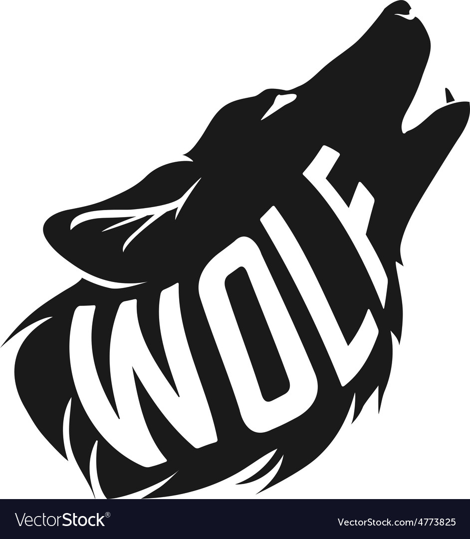 Wolf silhouette with concept text inside on white vector | Price: 1 Credit (USD $1)