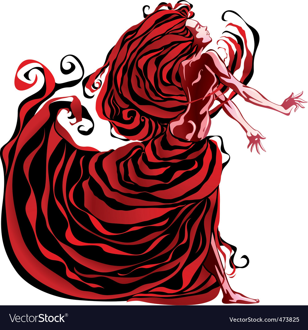 Woman in red vector | Price: 1 Credit (USD $1)