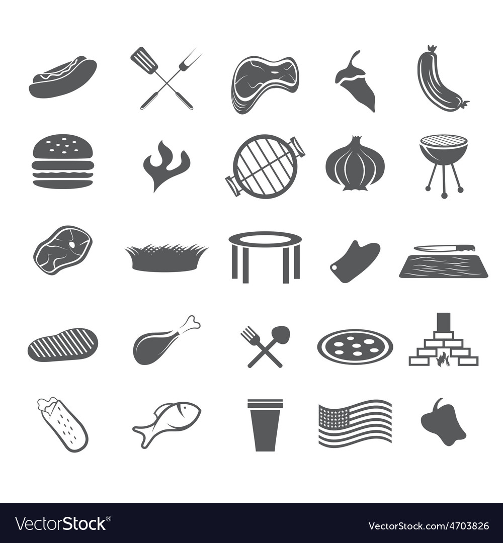 Bbq and fast food web icons set flat design vector | Price: 1 Credit (USD $1)