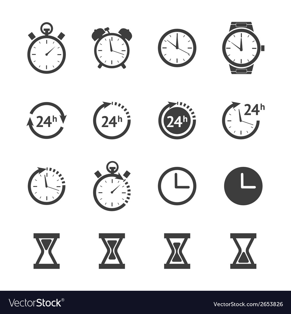 Black clock icons set vector | Price: 1 Credit (USD $1)