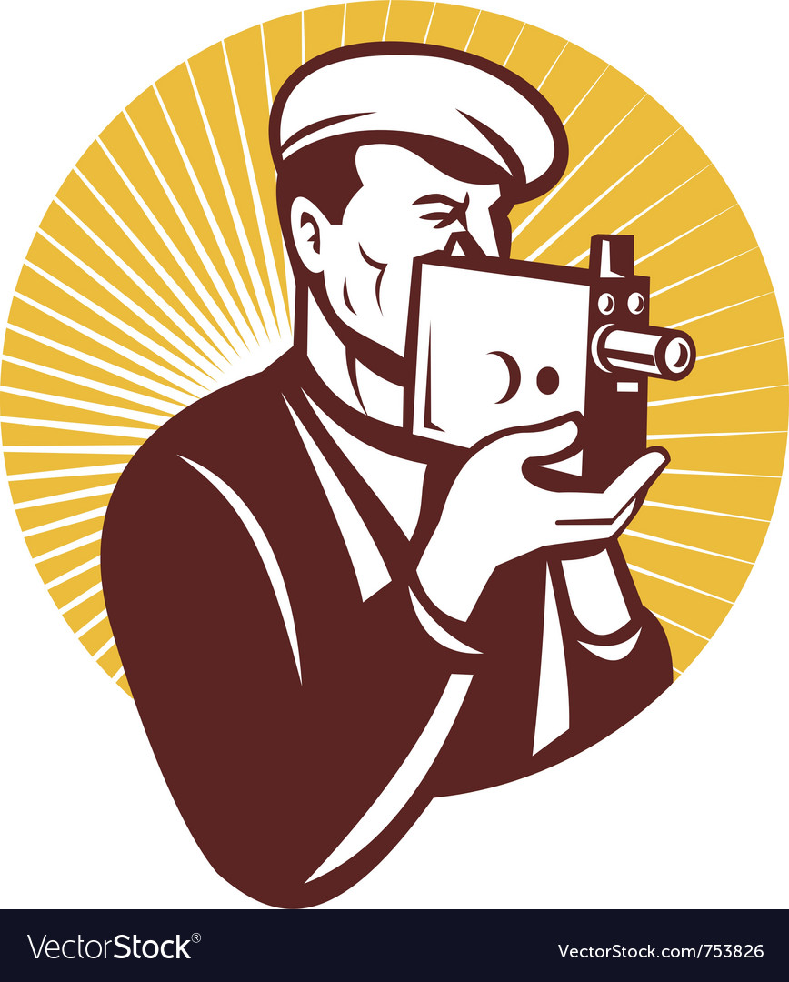 Cameraman with vintage camera vector | Price: 1 Credit (USD $1)