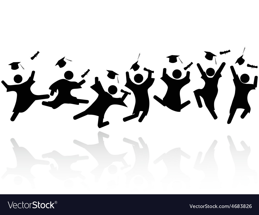 Cheerful graduated students jumping vector | Price: 1 Credit (USD $1)