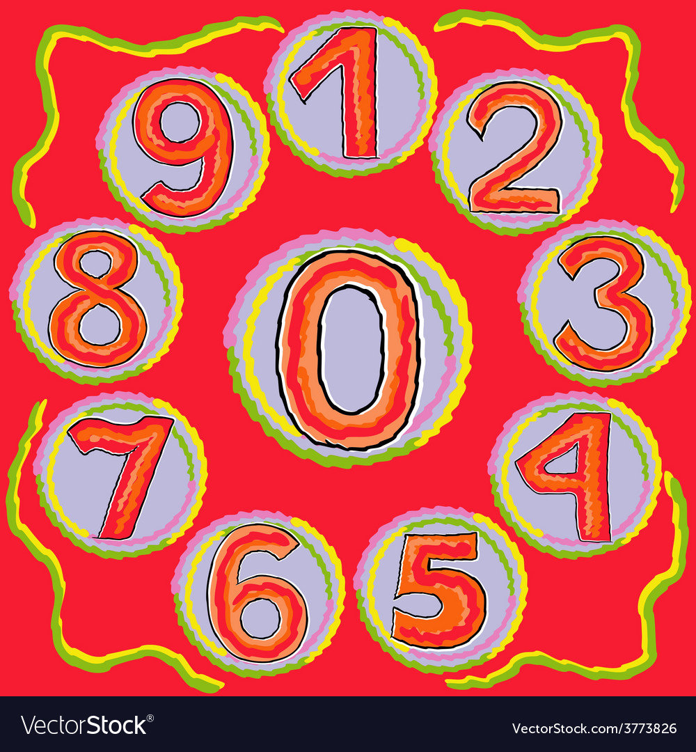 Numbers from zero to nine on a circle vector   Price: 1 Credit (USD $1)