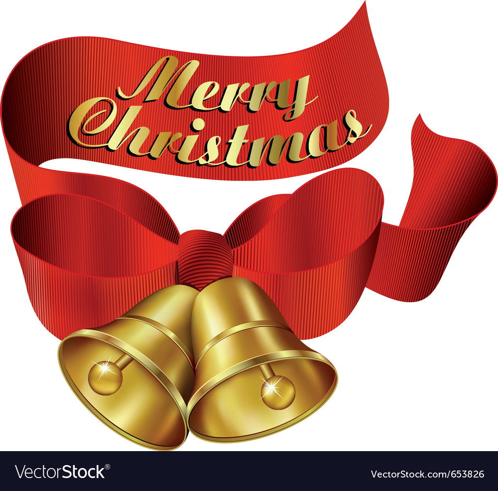 Ornate merry christmas bells with ribbon vector   Price: 1 Credit (USD $1)