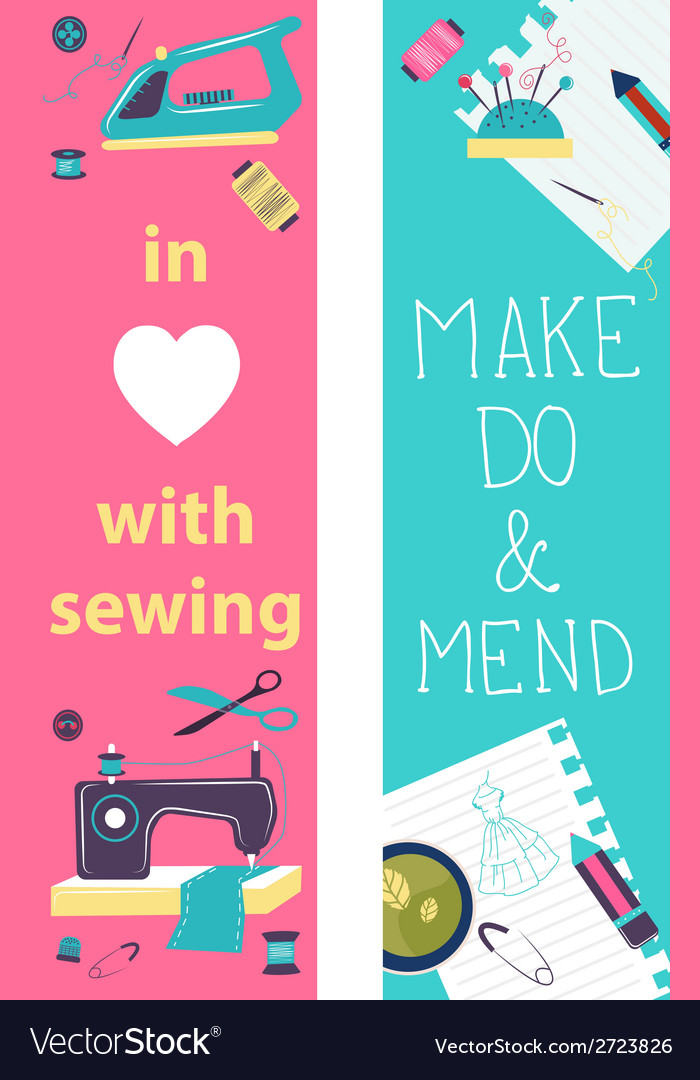 Sewing flat design two banners vector | Price: 1 Credit (USD $1)