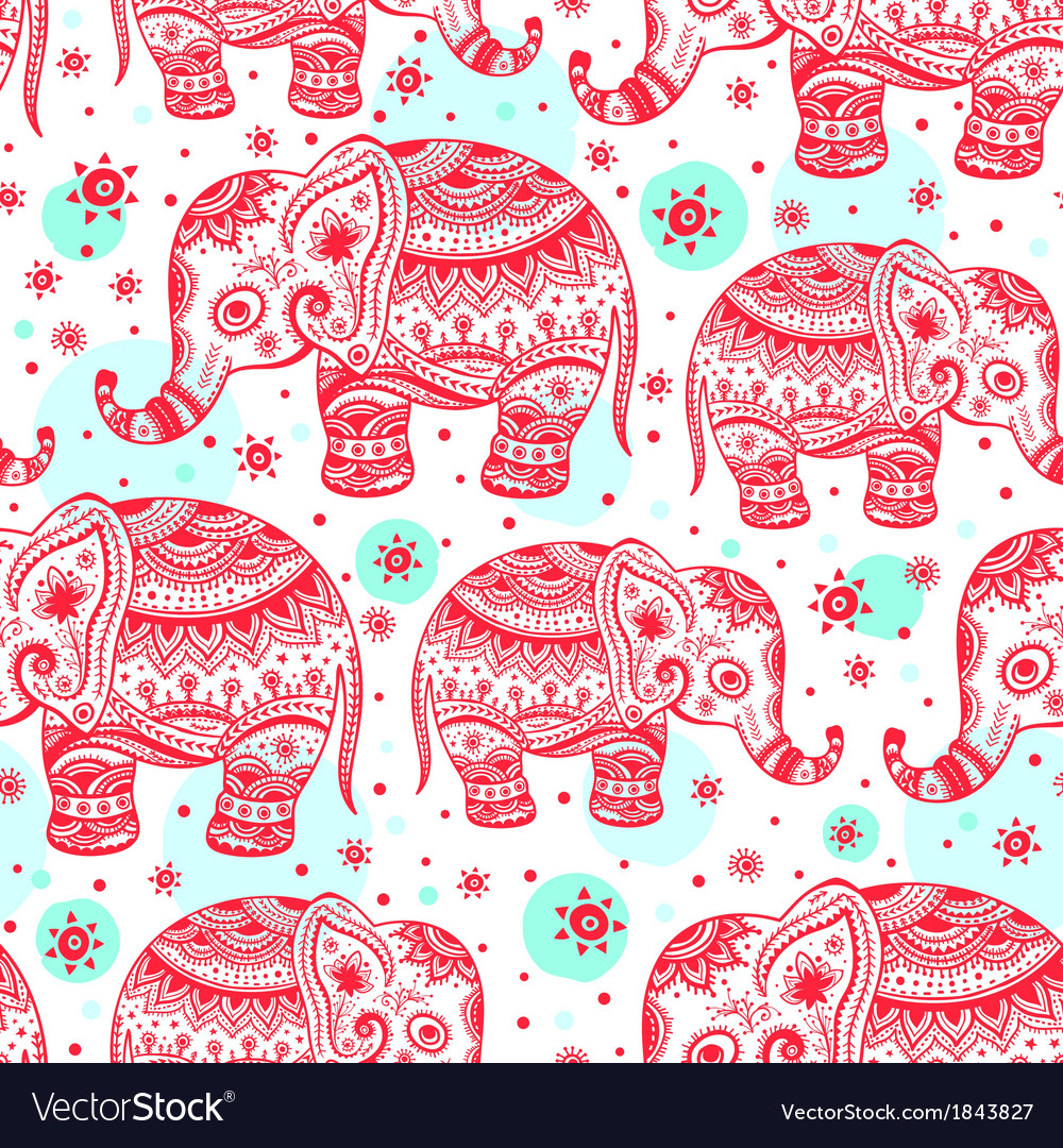 Ethnic elephant seamless vector | Price: 1 Credit (USD $1)