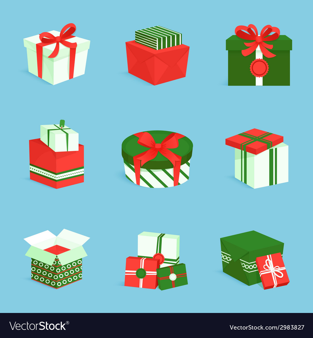 Gift box icons set vector | Price: 1 Credit (USD $1)