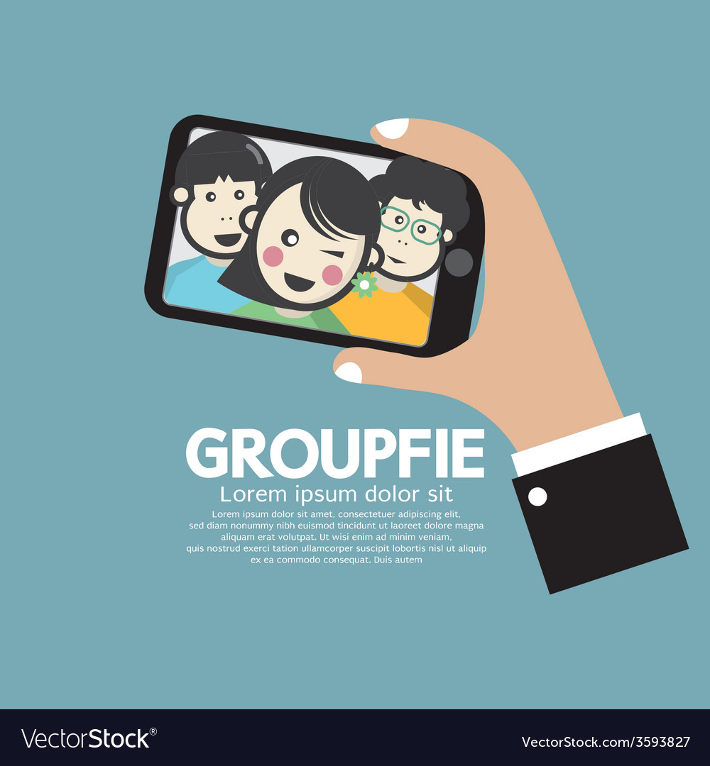 Groupfie a group selfie by phone vector | Price: 1 Credit (USD $1)