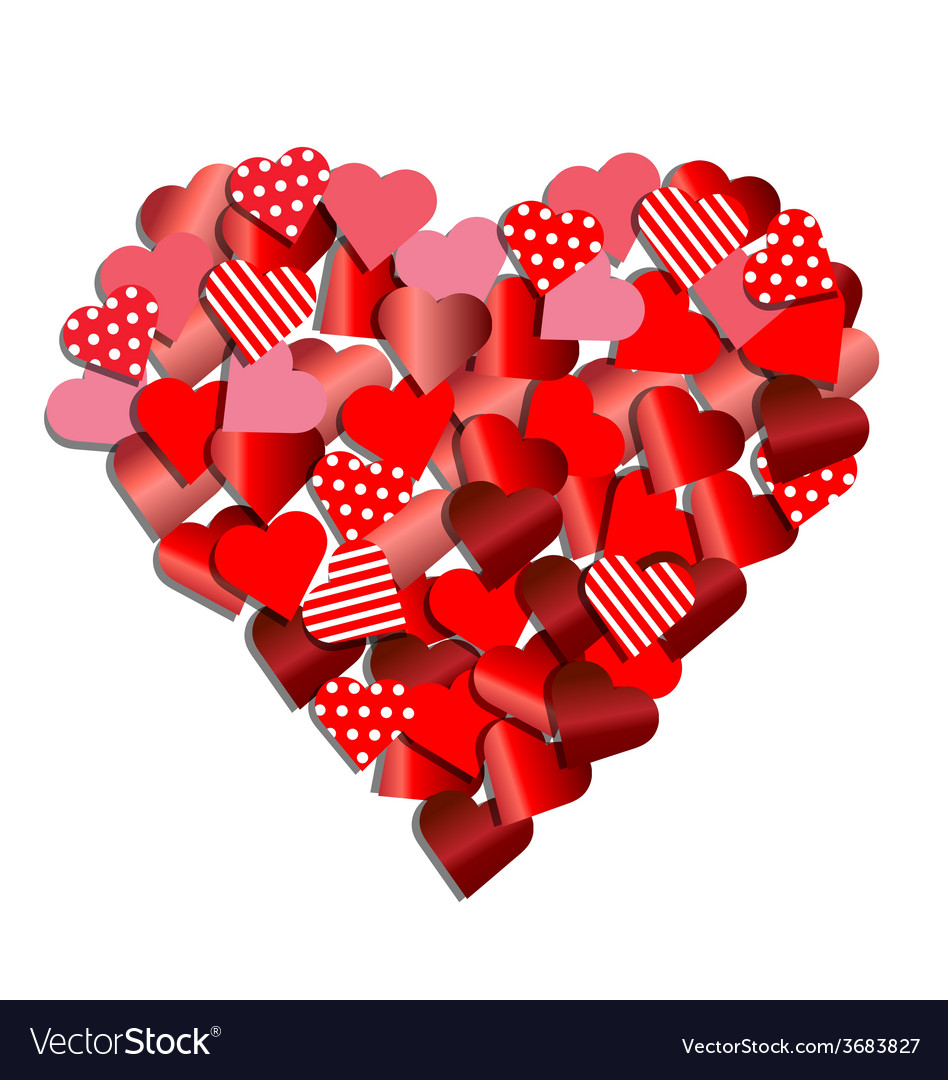 Heart from red paper for valentine card vector | Price: 1 Credit (USD $1)