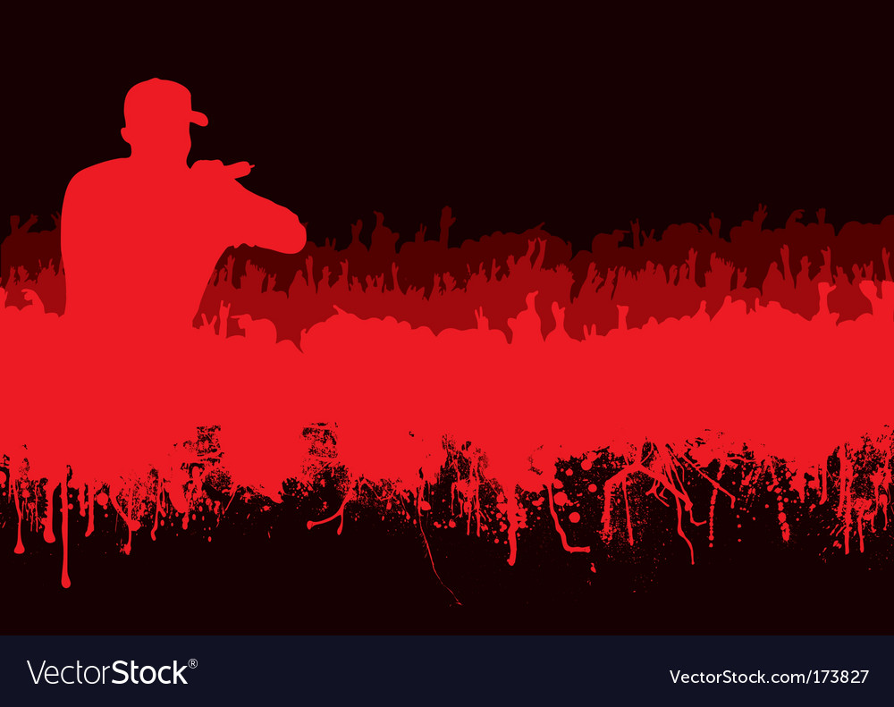 Silhouette rock concert crowd vector | Price: 1 Credit (USD $1)