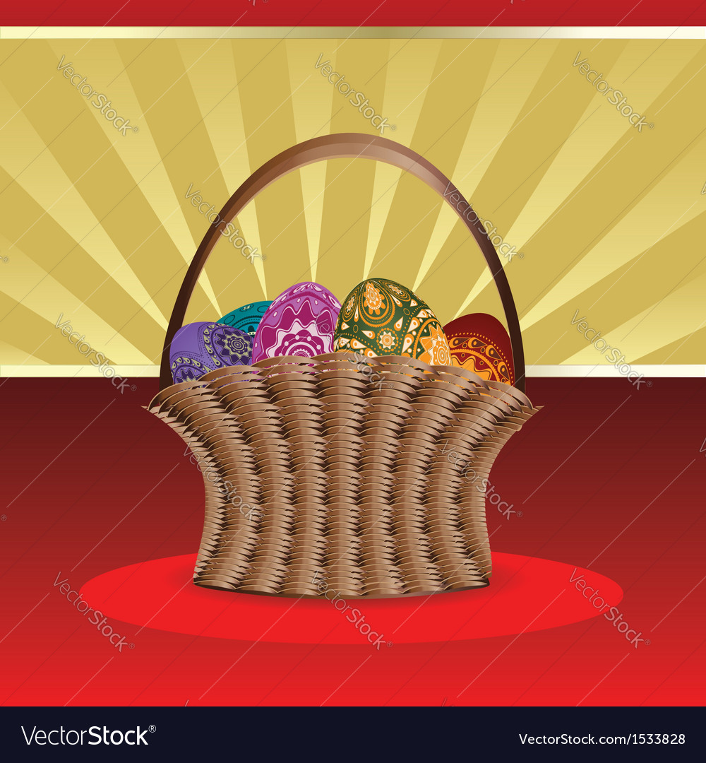 Easter card with basket of eggs vector | Price: 1 Credit (USD $1)