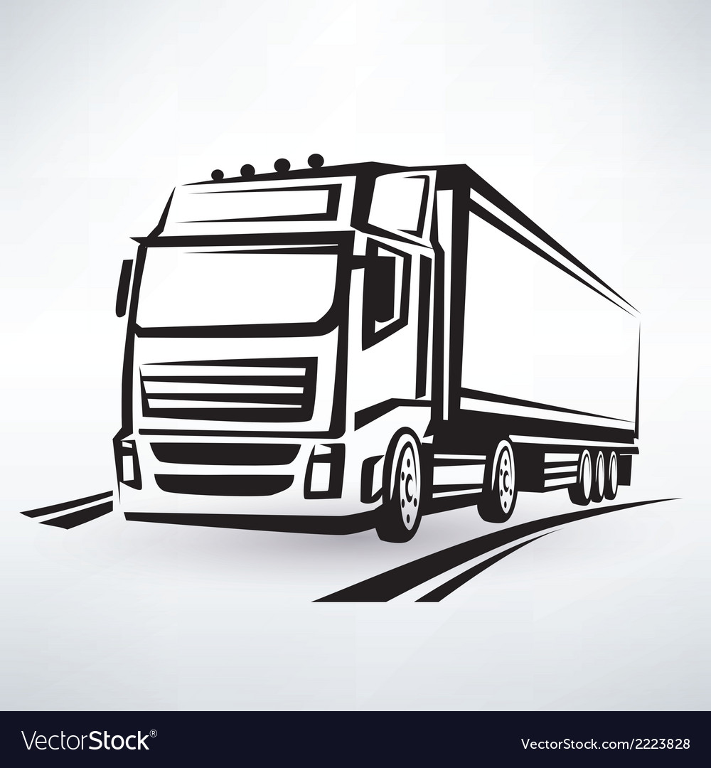 European truck outlined symbol vector | Price: 1 Credit (USD $1)