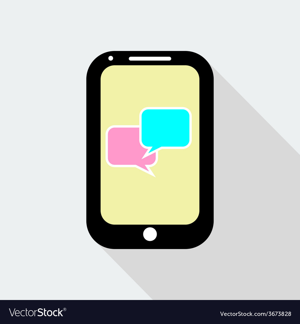 Flat design mobile phone with speech bubble icon vector | Price: 1 Credit (USD $1)