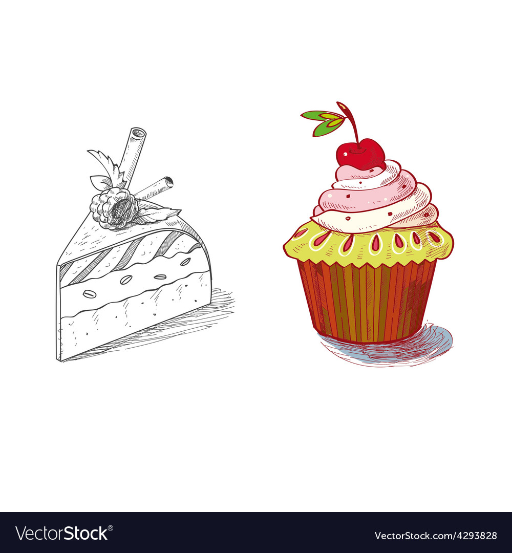 Hand drawn confections dessert pastry bakery vector   Price: 1 Credit (USD $1)
