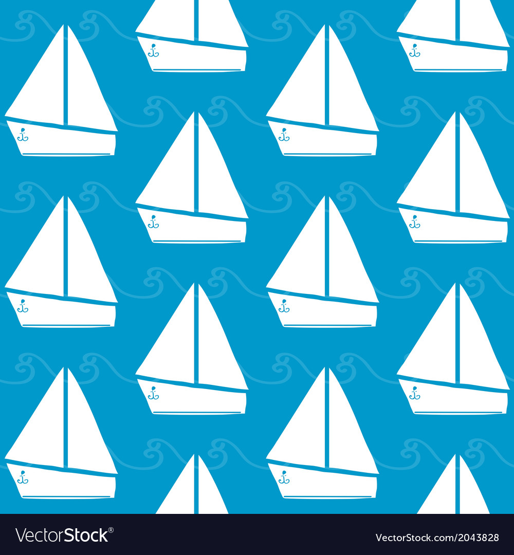 Seamless pattern with boats and waves vector | Price: 1 Credit (USD $1)