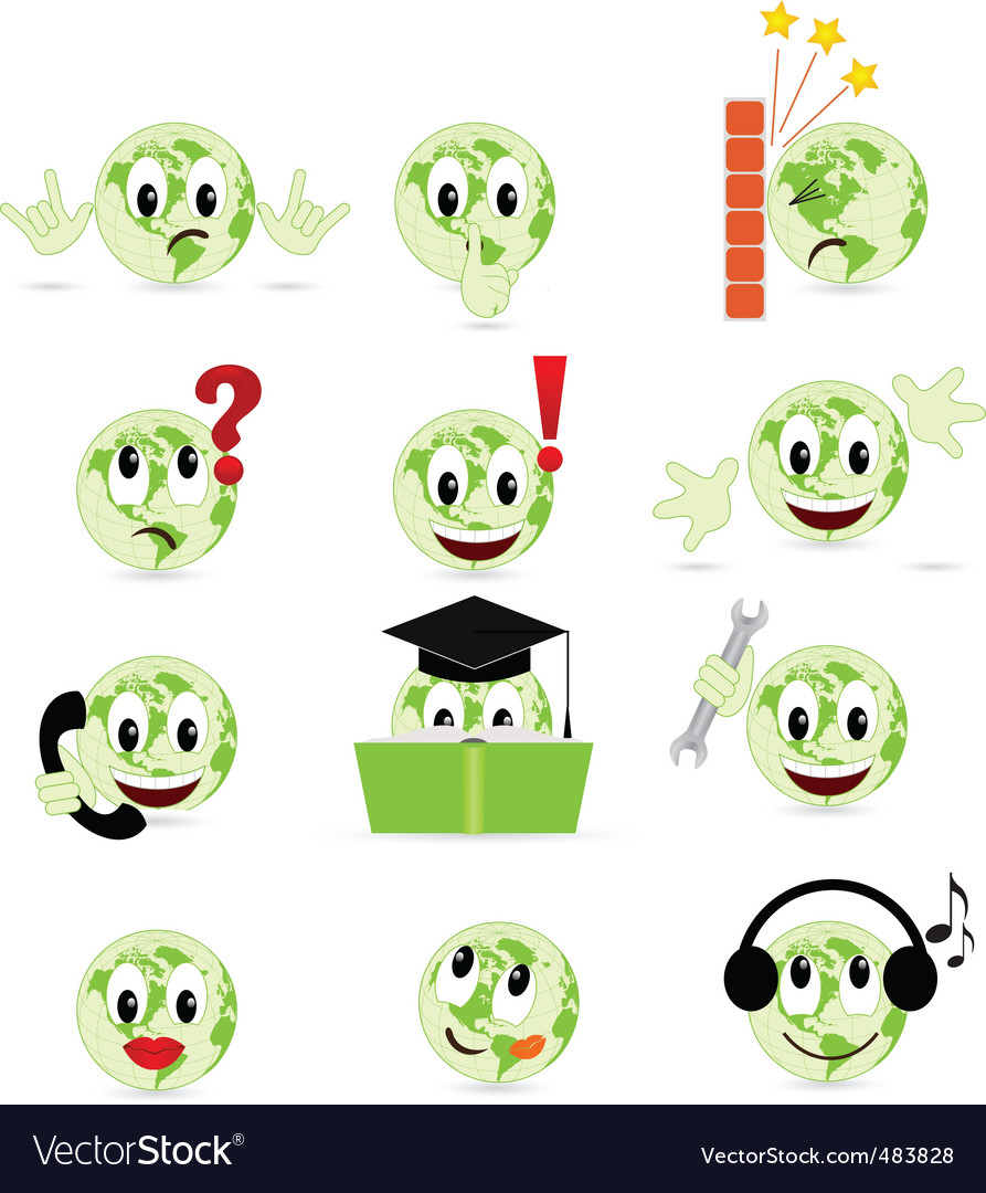 Set of cool smilies vector | Price: 1 Credit (USD $1)
