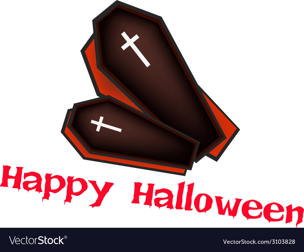 Two black coffins with word happy halloween vector | Price: 1 Credit (USD $1)