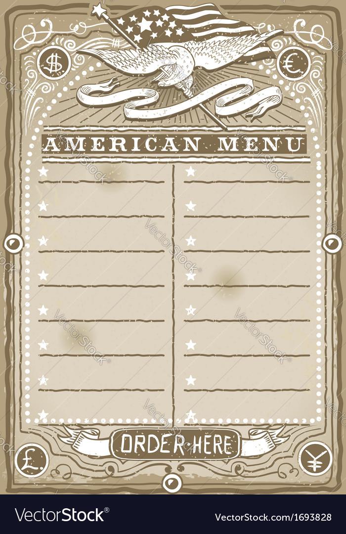 Vintage graphic page for american menu vector   Price: 1 Credit (USD $1)