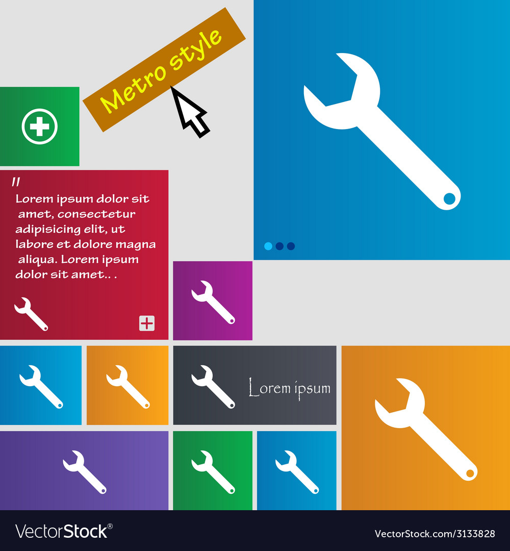 Wrench key sign icon service tool symbol set of vector | Price: 1 Credit (USD $1)