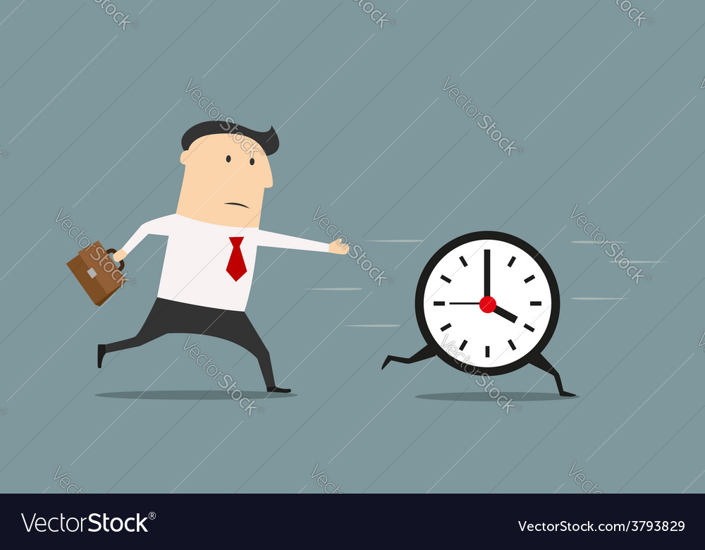 Businessman chasing a running clock vector | Price: 1 Credit (USD $1)