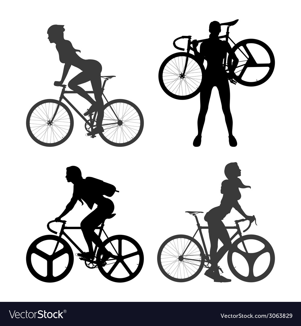 Cyclists woman and fixed gear bicycle vector | Price: 1 Credit (USD $1)
