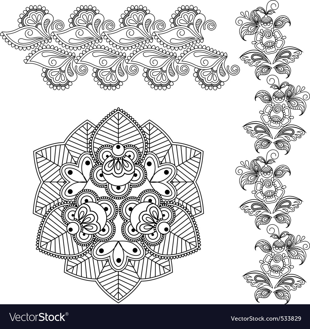 Mehndi abstract flowers vector | Price: 1 Credit (USD $1)
