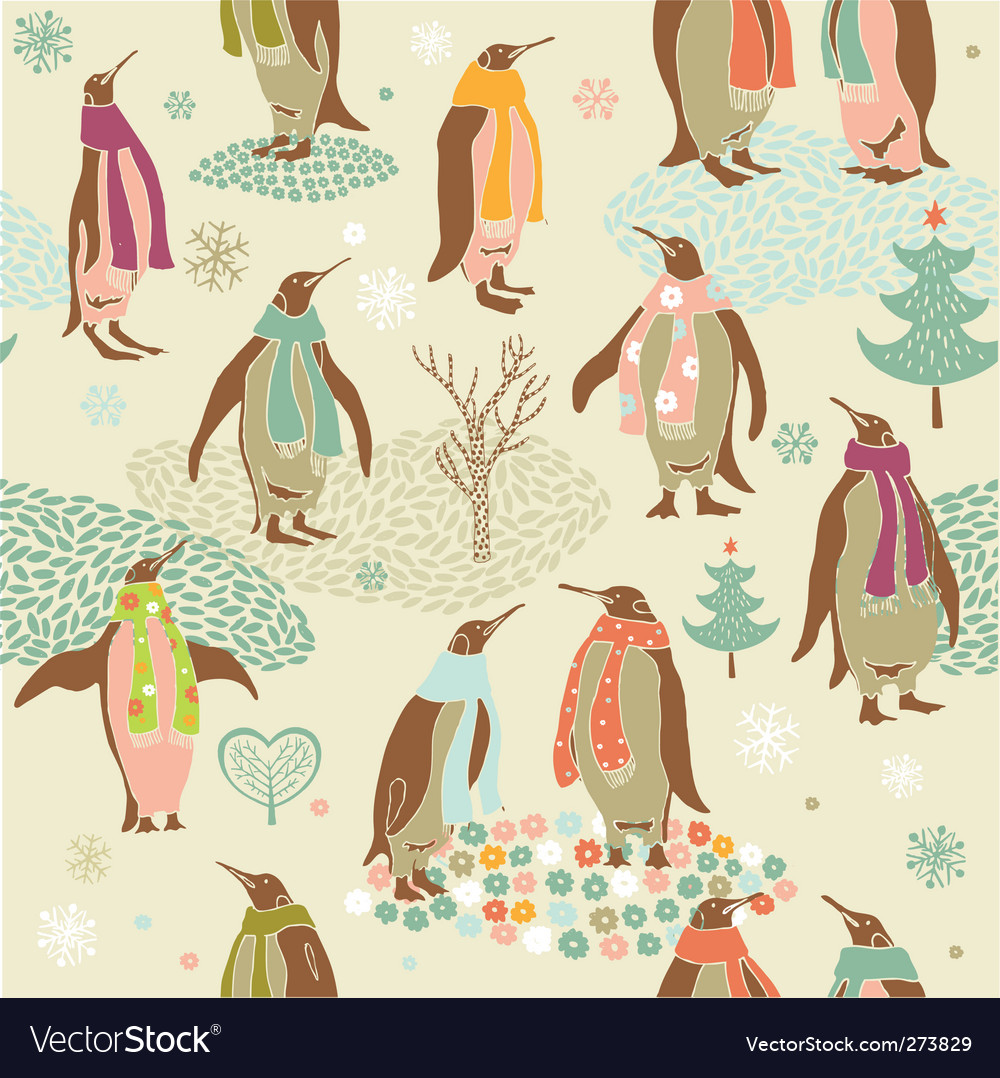 Penguins christmas pattern vector | Price: 3 Credit (USD $3)